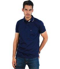 camiseta tipo polo azul oscuro hamer bolsillo bordado