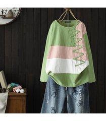 zanzea mujer de manga larga cuello redondo camisa ocasional remata la blusa floja jumper tops plus -verde