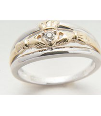 10k gold & silver diamond claddagh engagement ring size 10