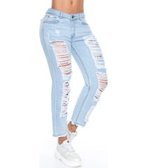jeans azul medio signos clásico