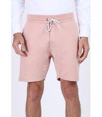 bermuda de moletom reta masculina com bolsos e cordão para amarrar rosa claro