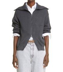 women's brunello cucinelli rib molini trim zip cardigan, size large - grey