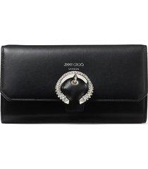jimmy choo wallet crystal-buckle clutch bag - black