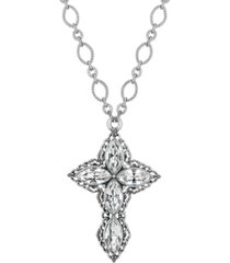 "2028 pewter crystal diamond shaped stones cross 24"" necklace"