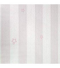 kit 2 rolos de papel de parede fwb para menina listras rosa e branco - branco/rosa - menina - dafiti