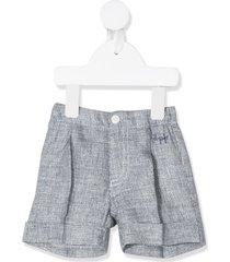il gufo pleated bermuda shorts - blue