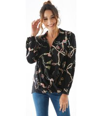 yoins black classic collar front button crossed front blouse
