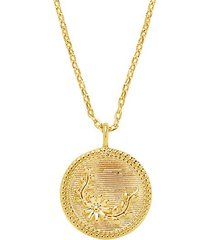 14k goldplated engraved flower arch pendnat necklace