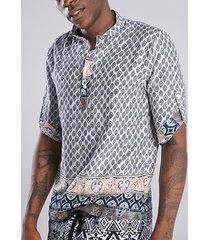 incerun hombres verano estilo bohemio estampado étnico henley camisa