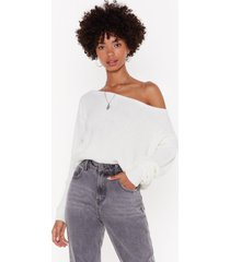 womens something's off-the-shoulder knit sweater - cream