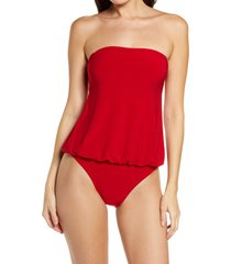 norma kamali strapless babydoll one-piece swimsuit, size small in red at nordstrom