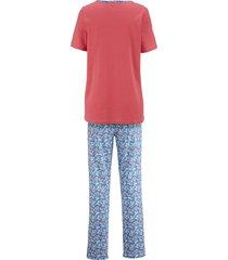 pyjamas blue moon korallröd/jeansblå/benvit