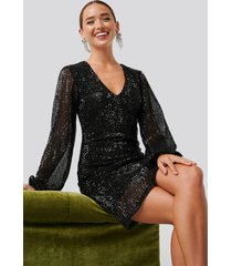 na-kd party balloon sleeve sequin mini dress - black