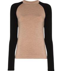 ernest leoty albane two-tone merino wool top - brown
