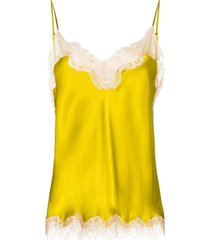 sainted sisters camisola scarlett de seda com acabamento em renda - amarelo
