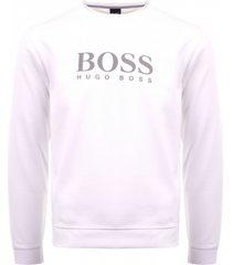 boss piqué logo sweatshirt - white 50396882-100