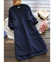 donna vintage camica tunica con bottoni in colore a tinta unita a maniche lunghe