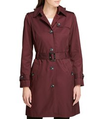dkny women's solid rain trench coat - deep plum - size l