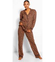 zwangerschap luipaardprint pyjama set met broek en biezen, geelbruin