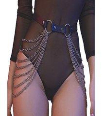 layered chain detail pu leather waist belt