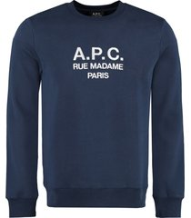 a.p.c. rufus logo detail cotton sweatshirt
