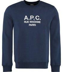 a.p.c. rufus logo detail cotton sweatshirt