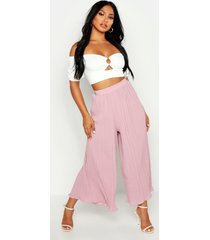 high waist pleated wide leg culottes, rose