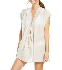 women's robin piccone michelle cover-up tunic, size x-small - ivory