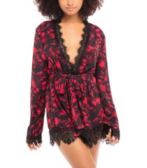 women's rose printed viscose jersey robe with eyelash lace finish and matching sash and g-string