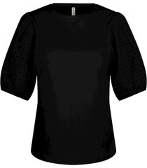 summum 3s4542-30246 990 top puff sleeve broderie anglaise with jersey black
