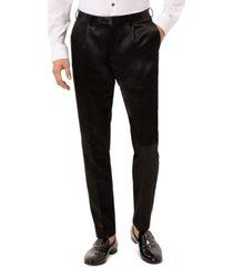 tallia men's slim-fit black solid pleated dress pants