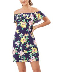 women's tommy bahama sun lilies off the shoulder ruffle spa dress, size x-large - blue