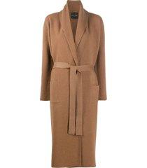 roberto collina wrap-around merino wool coat - brown
