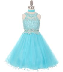 aqua dazzling halter-neck hand beaded rhinestones bodice wired tulle skirt dress