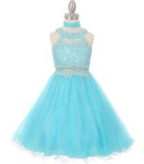 aqua dazzling halter-neck hand beaded rhinestones bodice wired tulle skirt dress