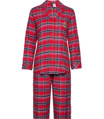lrl notch collars pj set folded pyjama rood lauren ralph lauren homewear