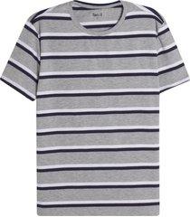 camiseta m/c a rayas color gris, talla l