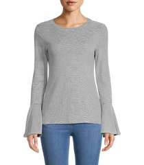 philosophy women's pinstriped bell-sleeve top - white black - size s