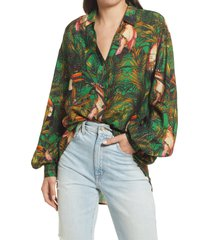 never fully dressed green parrot button-up shirt, size 8 in multi at nordstrom
