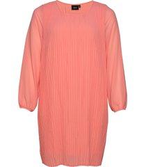 dress plus long sleeves round neck kort klänning rosa zizzi