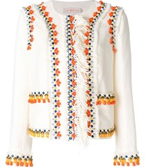 tory burch beaded fitted jacket - neutrals