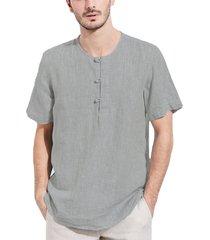 incerun camiseta de manga corta con botones de lino de estilo chino de verano para hombres