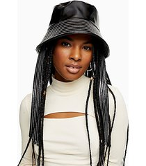 black wide brim tie vinyl bucket hat - black