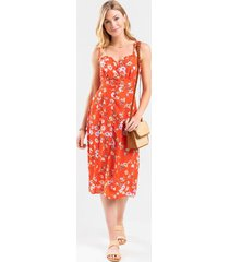 courtney button front floral midi dress - red