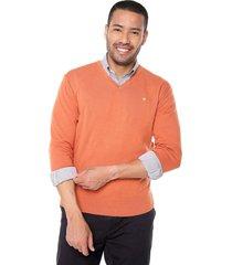 sweater ocre 42 preppy m/l c/v tejido delgado
