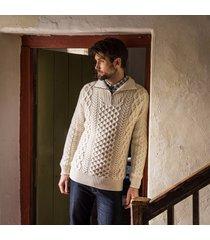 men's kinnagoe aran sweater cream xxl