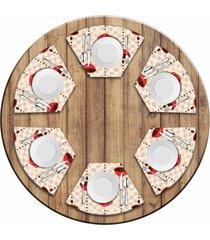 jogo americano love decor  para mesa redonda wevans xãcara de cafã© kit com 6 pã§s - multicolorido - dafiti