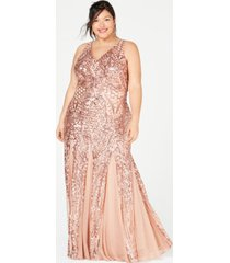 nightway plus size sequined mesh gown