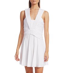 ruched pleated stretch-linen mini a-line dress