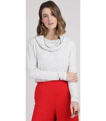 blusa feminina ampla canelada manga longa maxi gola cinza mescla claro